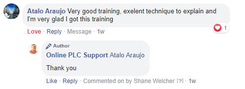 Online PLC Support Testimonial FB 1