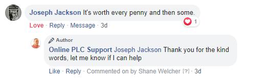 Online PLC Support Testimonial FB 2