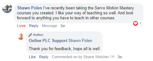 Online PLC Support Testimonial FB