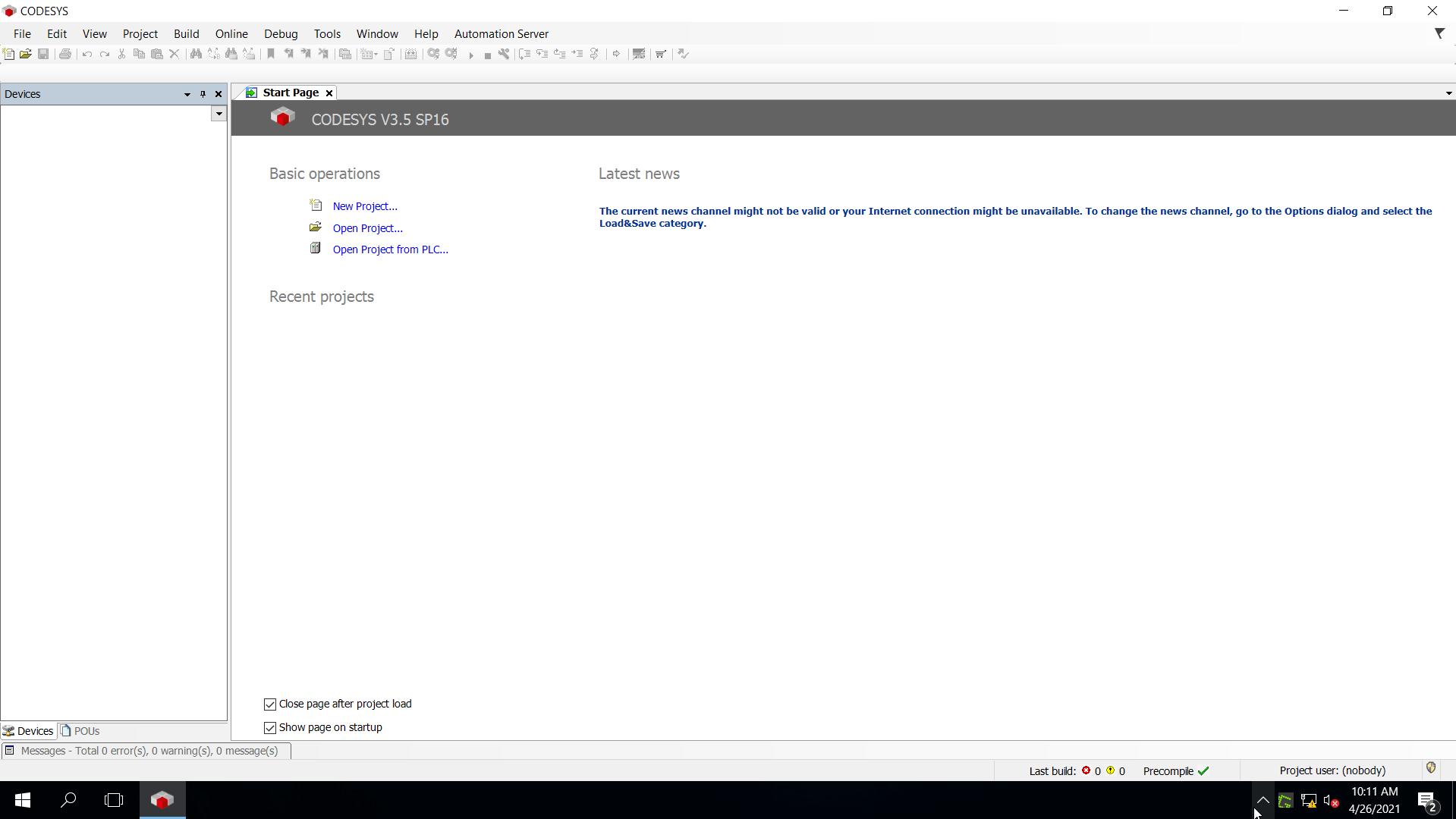 CodeSys Opened Very Beginning